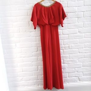 Red Maxi Backless Embellished Beaded Neck Dress S
